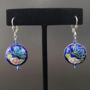 GORGEOUS Cobalt Blue Cloisonne Butterfly Earrings